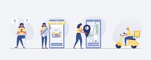Concept de livraison mobile, commande de nourriture en ligne.