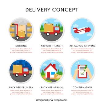 Concept de livraison plate avec des cercles