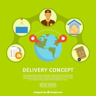 Concept de livraison plate avec globe mondial