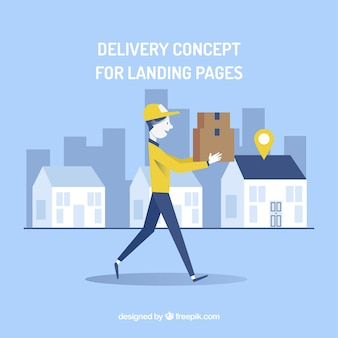 Concept De Livraison Pour La Page De Destination Vecteur gratuit