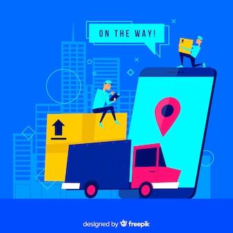 Concept de livraison pour la page de destination