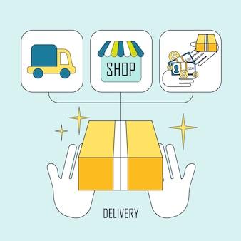 Concept de livraison de produit dans un style de ligne mince et plat