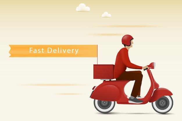Concept de livraison rapide. livraison en scooter rouge avec drapeau.
