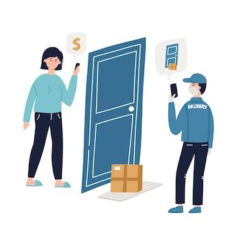 Concept de livraison sans contact. illustration vectorielle dessinée à la main pour la bannière, les médias sociaux. achetez en ligne.