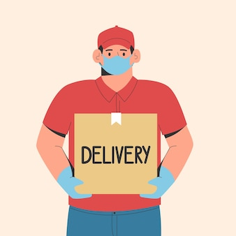 Concept de livraison sûre courrier livrant la commande dans un masque médical de protection et des gants