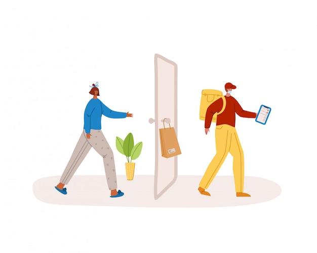 Concept de livraison sûre - livraison sans contact de produits ou de colis à domicile à la porte d'entrée, service de messagerie express