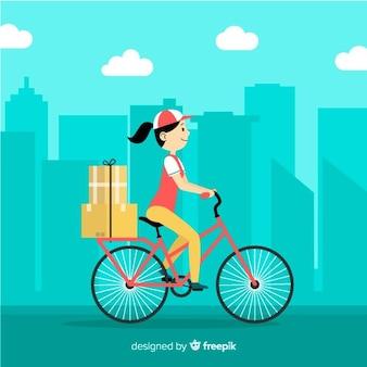 Concept de livraison de vélo plat
