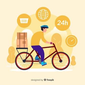 Concept de livraison de vélos dans un style plat