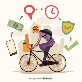 Concept de livraison de vélos style dessiné à la main