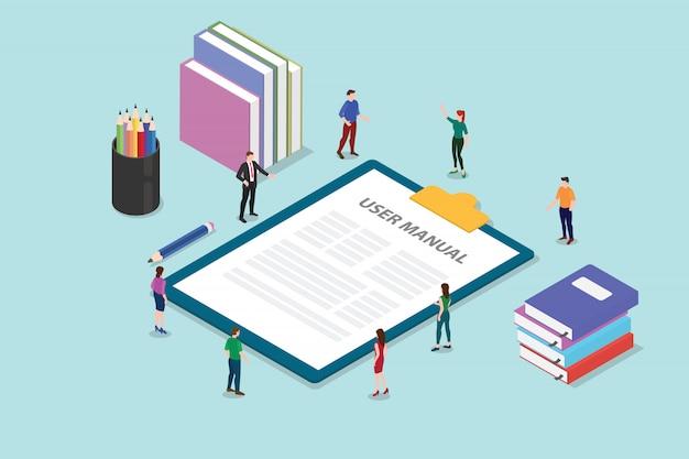 Concept de livre de manuel utilisateur avec des personnes et un guide sur le presse-papiers