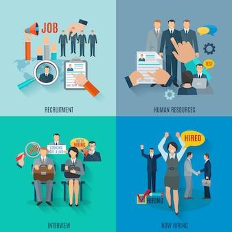 Concept de location sertie d'icônes plat de recrutement de ressources humaines isolé