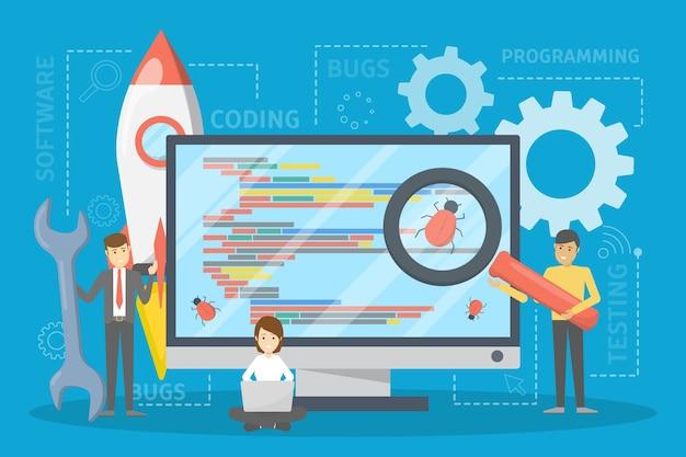Concept de logiciel de test. processus de test du code d'application