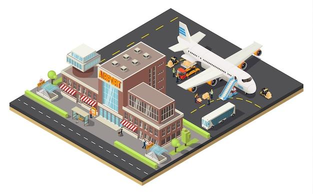 Concept de logistique aérienne isométrique