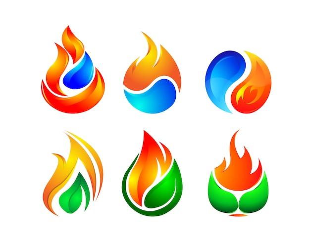 Concept de logo 3d feu flamboyant