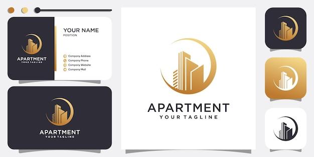 Concept de logo d'appartement construction dorée moderne vecteur premium