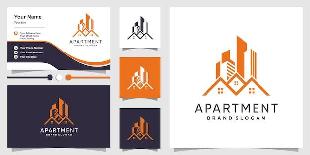 Concept de logo d'appartement avec un style moderne vecteur premium