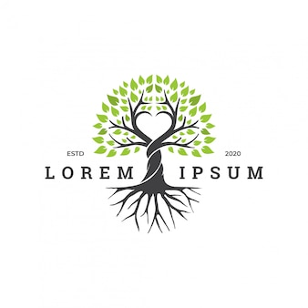 Concept de logo arbre avec élément d'amour.