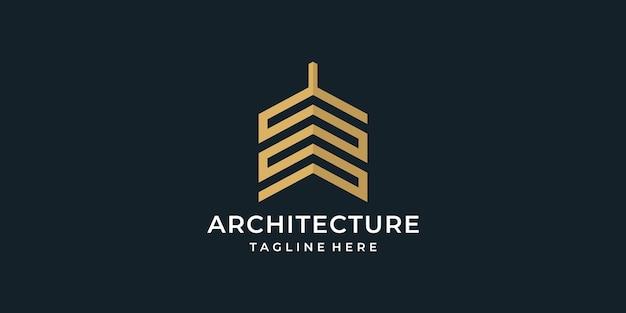 Concept de logo d'architecture dorée de monogramme.