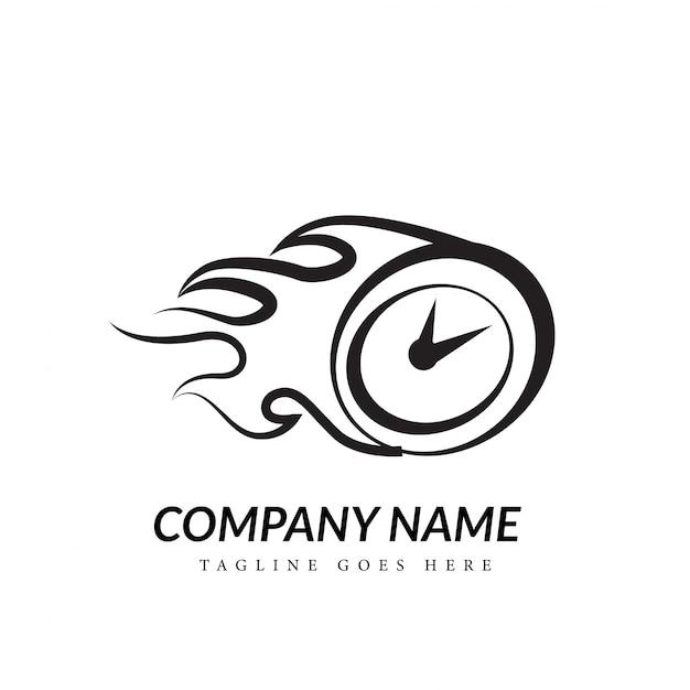 Concept de logo d'art de ligne de compteur de vitesse noir et blanc