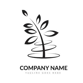 Concept de logo art ligne noir et blanc nature