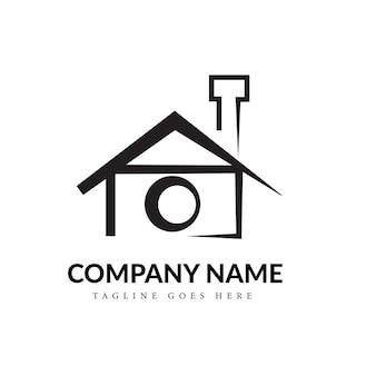 Concept de logo d'art de ligne de photographie à la maison en noir et blanc