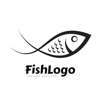 Concept de logo d'art de ligne de poisson noir et blanc