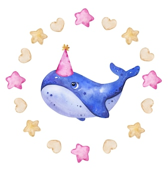 Concept de logo de baleine d'encre aquarelle