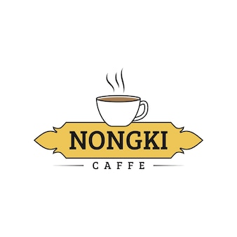 Concept de logo de bar à café classique avec tasse et sceau