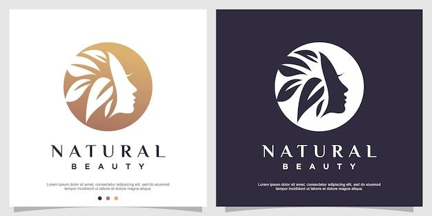 Concept de logo de beauté naturelle avec un style unique vecteur premium