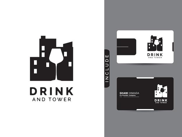 Concept de logo de boisson et de tour