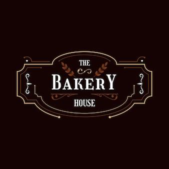 Concept de logo de boulangerie rétro