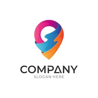 Concept de logo broche / pointeur + vague