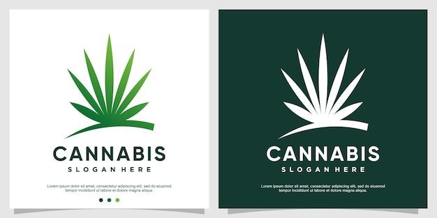 Concept de logo de cannabis pour la santé et les soins vecteur premium partie 1
