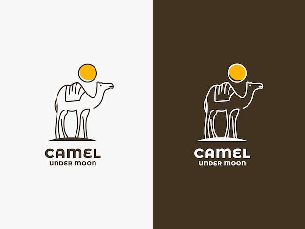 Concept de logo de chameau et de lune