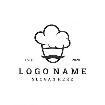 Concept de logo de chef avec modèle de conception moderne