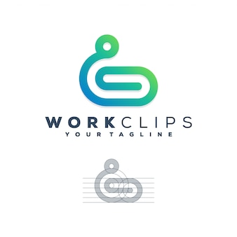 Concept de logo de clips de travail.