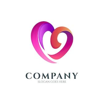 Concept de logo coeur lettre m