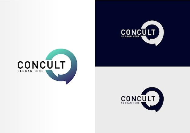 Concept de logo de conseil aux entreprises. app tchat discuter bubble logo