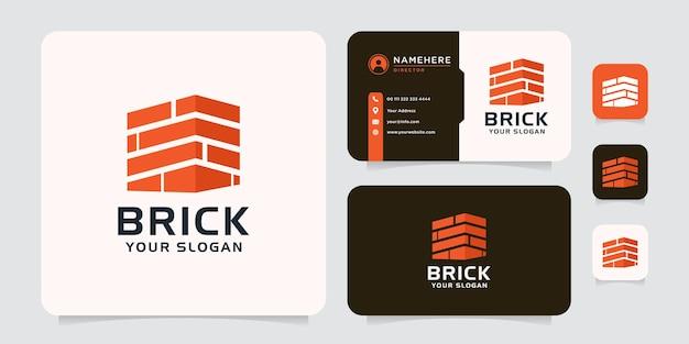Concept de logo de construction de briques immobilières résidentielles modernes
