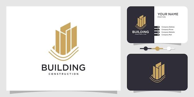Concept de logo de construction avec un style moderne vecteur premium