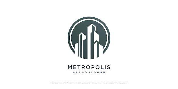 Concept de logo de construction avec un style unique et créatif vecteur premium partie 2