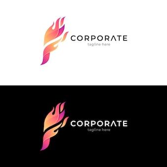 Concept de logo créatif feu lettre f