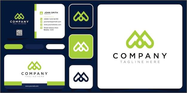 Concept de logo créatif de lettre d'amour m. éléments de modèle de conception lettre m coeur logo icône