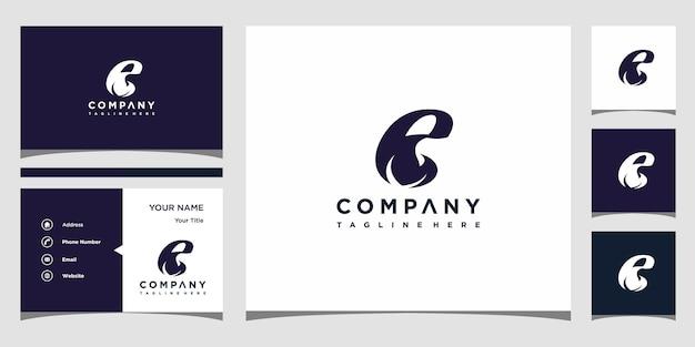 Concept de logo créatif lettre e feuille et carte de visite premium vecteur premium