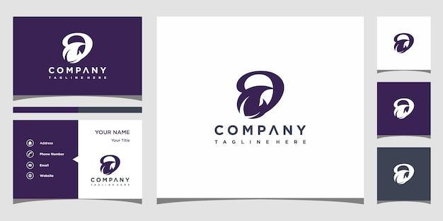 Concept de logo créatif lettre d feuille et carte de visite premium vecteur premium