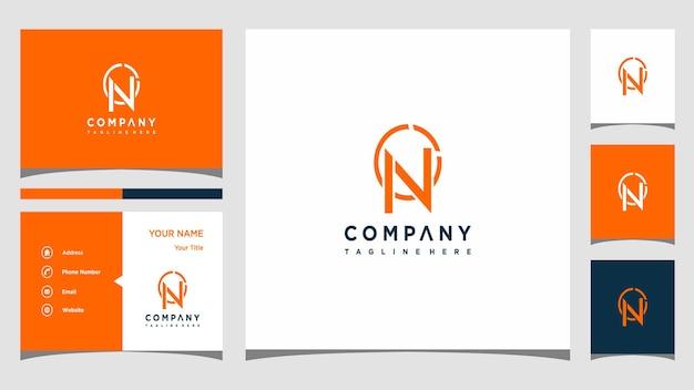 Concept de logo créatif lettre n et carte de visite premium vecteur premium