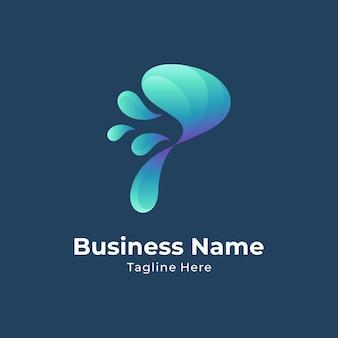Concept de logo créatif lettre p eau splash avec style de couleur dégradé
