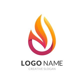 Concept de logo de feu, style de logo 3d moderne en dégradé de couleur rouge et jaune