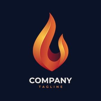 Concept de logo de flamme de feu