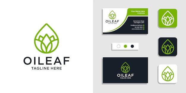 Concept de logo huile pure feuille nature avec modèle d'inspiration de conception de carte de visite